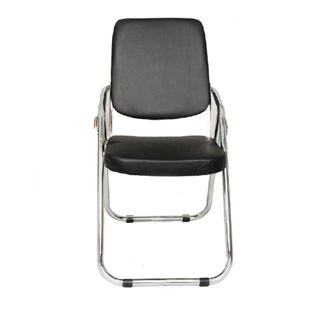 GFL Chairs Folding Chair Steel Material Office Training Conference Chair Backrest Household Dining Book Room Leather Sponge-filled Chair Black (A+++)