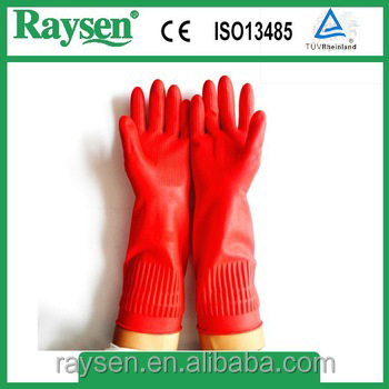 Extra unlined long latex household top gloves