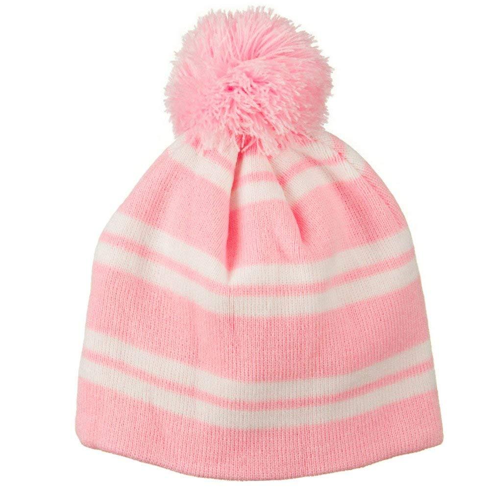 f815f26c3e9 Jacquard White Stripe Knit Beanie with Pom - Pink W30S26F