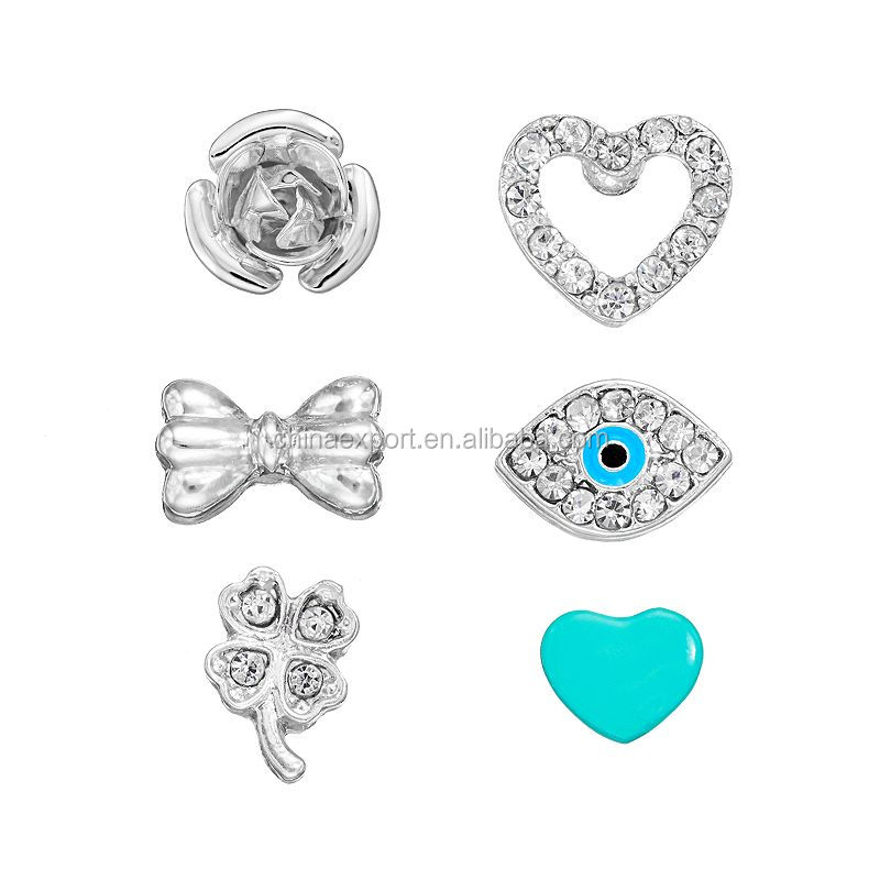Summer collection crystal silver evil eye stud earrings