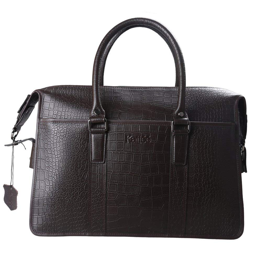 Get Quotations · Kattee Men s Italy Leather Briefcase 15.6