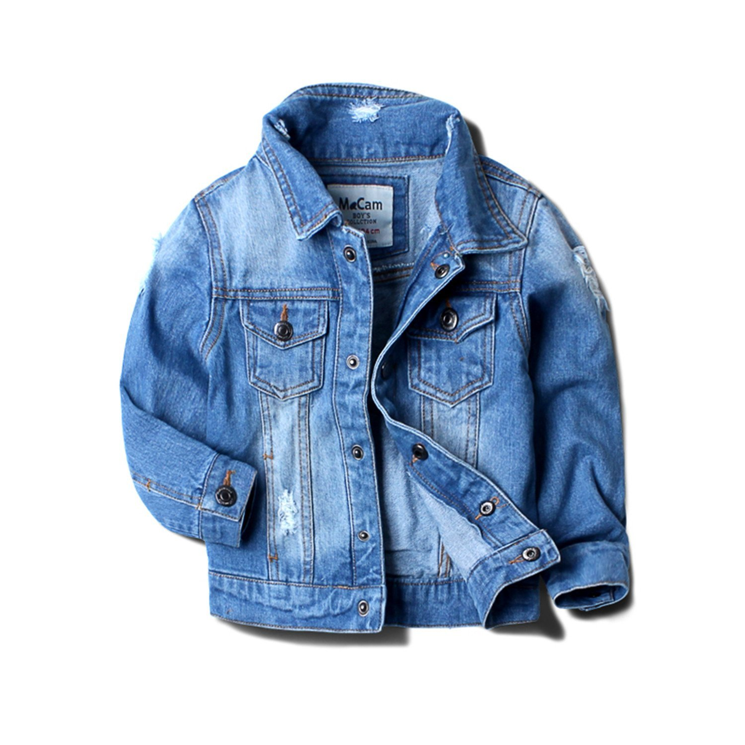 9a46941e9 Get Quotations · Baby Boy Denim Jacket Leisure Coat Children Kids Jeans  Boys Girls Ripped Jeans Jackets Kids Denim