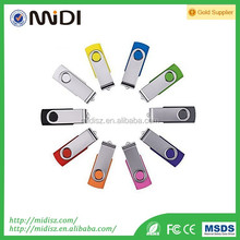 2017 Bulk cheap Swivel Foldable rotary USB 2.0 Flash Memory Stick Pen Drive With custom logo printed on side