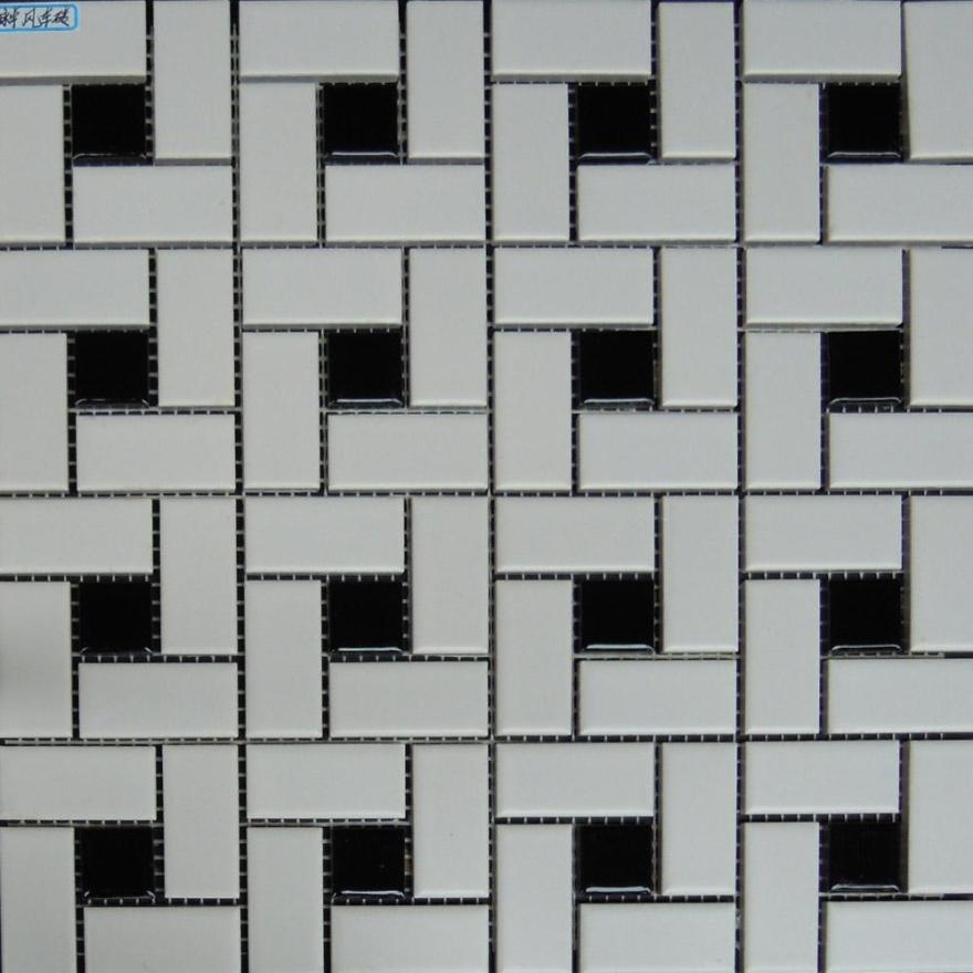 Kitchen Black And White Tile Floor: Black And White Glazed Ceramic Mosaic Floor Bathroom