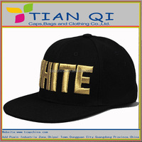 fashion brand snapback hats with golden 3d embroidery