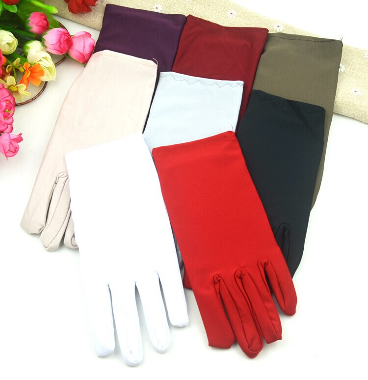 10pairs/lots wholesale mixed colorful Spandex gloves female square dance white gloves special gloves ultra elastic