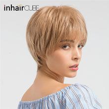 INHAIR CUBE синтетические парики натуральные волнистые короткие парики для женщин пушистые Омбре парик из человеческих волос дышащая парик(Китай)