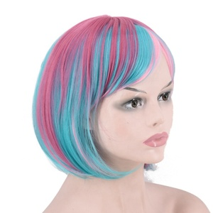 Multicolor Cheap Cosplay Wig Straight Hair Synthetic Hair Bob Wig