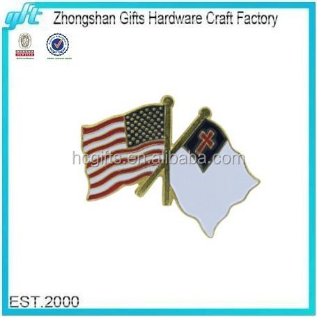 2016 New Promotional Gift Custom Enamel Lapel Pin USA And Christian Flag