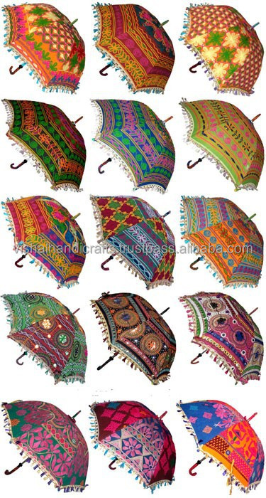 Indian Colorful Sun Protection Parasol Umbrella Decor Vintage Umbrella