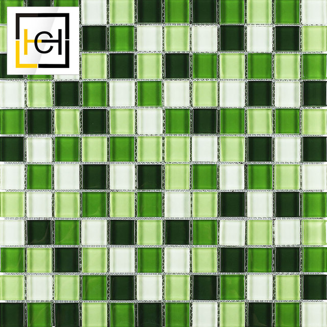 Chinese Supplier Green Kitchen Crystal Mozaik Tile Glass Mosaic