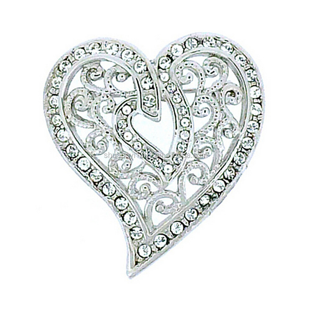 Wedding Decor Brooch Wholesale White Clear Rhinestone Shape Heart Brooches For Bridal