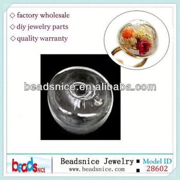 Beadsnice ID 28602 Zakka fashionable jewelry round dome transparent for hollow ring 24mm glass bubble