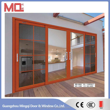 Cheap aluminum sliding door design with mosquito net