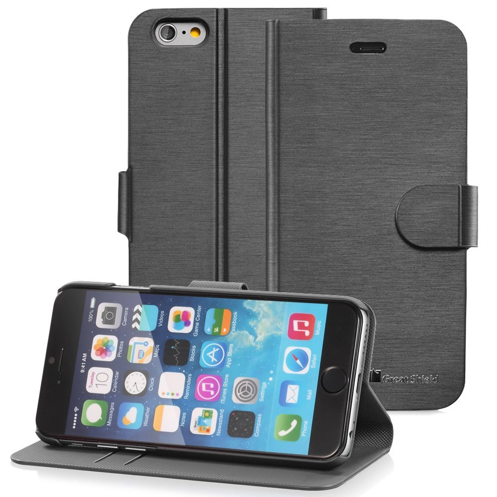 """iPhone 6S Wallet Stand Case, GreatShield [SHIFT LX] Slim Leather Flip Cover with Kickstand for Apple iPhone 6 (2014) / iPhone 6S (2015) 4.7"""" inch - Black"""