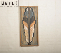 Mayco Modern Wood Wall Art Feather Shape Painting for Home Decor