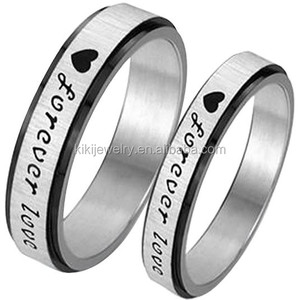 Classic Couples Stainless Steel Bands Silver Black Heart Forever Love Promise Rings