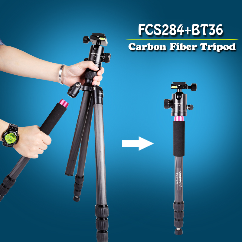 Professional Carbon Fiber Video photography tripod With 360 Degree Ball Head