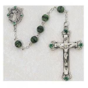 Green and Black St. Patrick Irish Catholic Rosary Beads - This Irish Rosary Has 7mm Green and Black Glass Beads and a Sterling Silver Crucifix and St. Patrick Centerpiece with Green Enameled Shamrocks on the Crucifix and Centerpiece. This Beautiful Rosary Comes Packaged in an Elegant Deluxe Gift