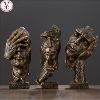 Northern Europe abstract bronze art face sculpture for indoor polyresin statue for home decor