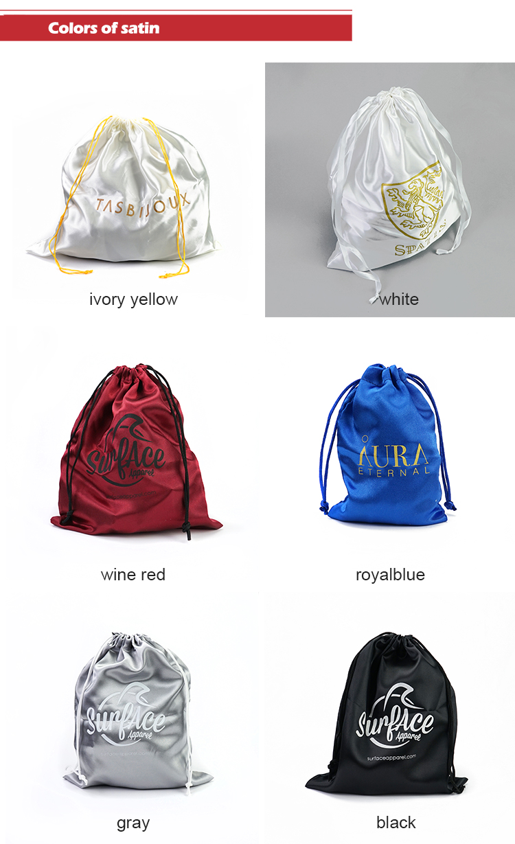 Custom Silk printed colorful Satin Drawstring hair extension packaging with Logo