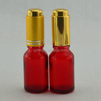 mojito bottle/ red glass dropper bottle with gold cap /bottle of red