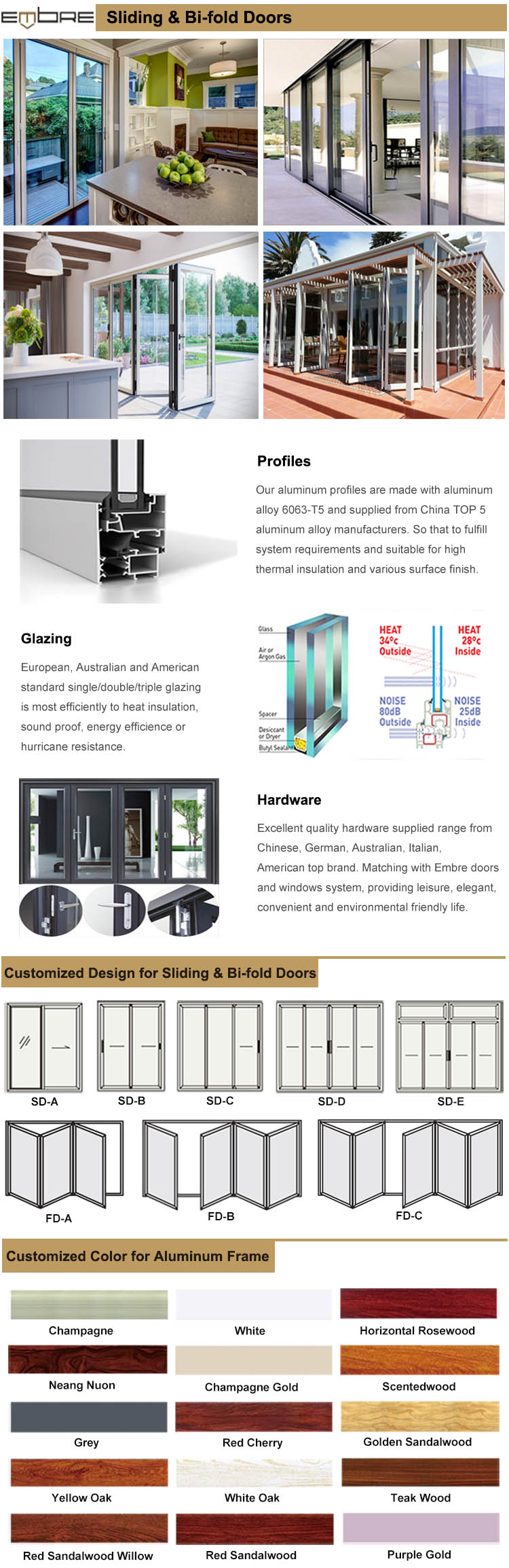 Triple Track Aluminum Sliding Door with Screen
