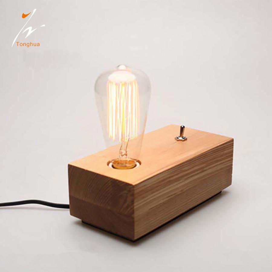 Edison vintage antique light bulb wooden lamp fixture fittings