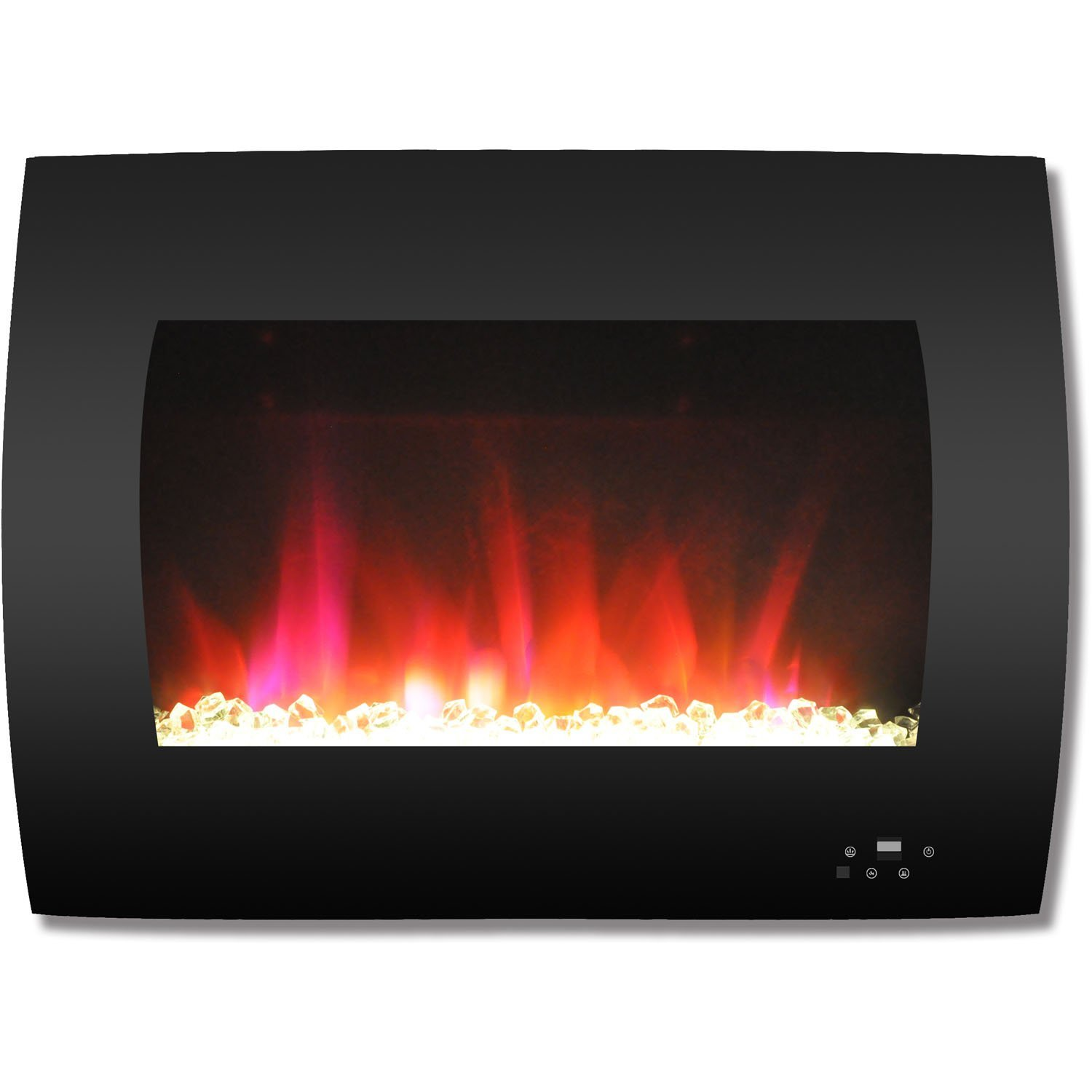 Cambridge CAM26WMEF-1BLK 26 In. Curved Wall-Mount Electric Fireplace in Black with Multi-Color Flames and Crystal Rock Display