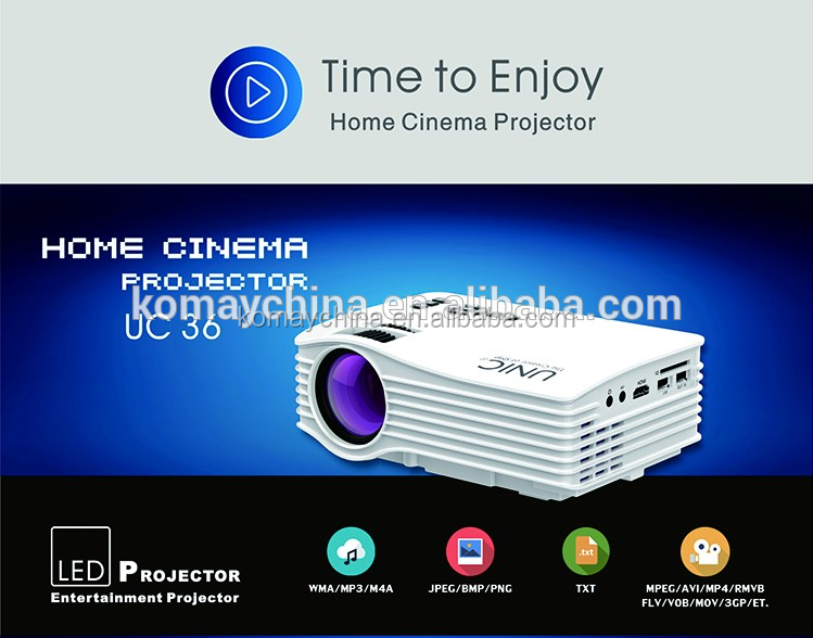 Komay new design hot selling factory price mini portable build in wireless projector UC36+