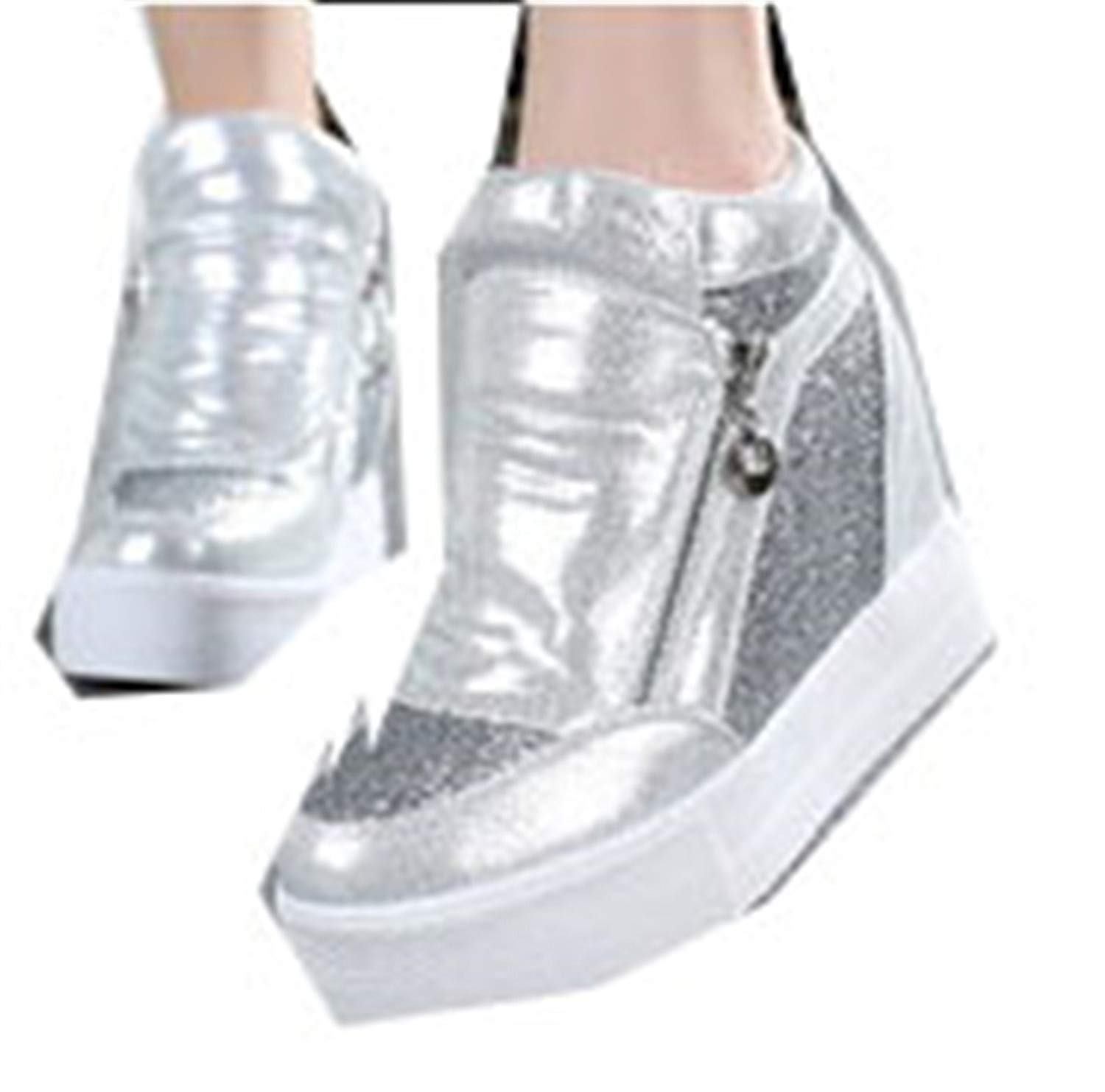 505170901512 Get Quotations · Better Annie Hot Sales New Spring Autumn Silver White  Hidden Wedge Heels Casual Shoes Women s Elevator