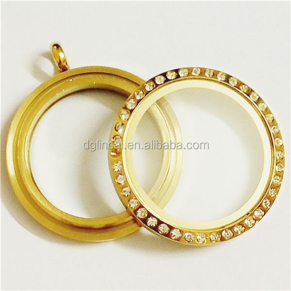Stainless steel gold color diamond round glass floating locket jewlery