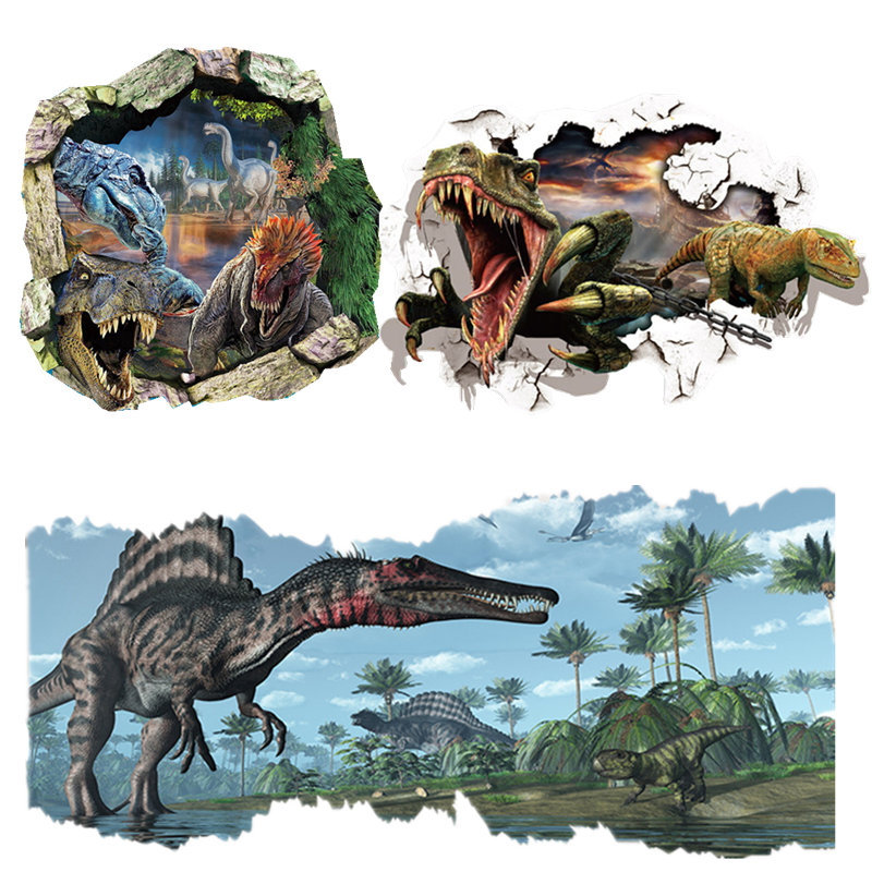 60*90 CM 3D Dinosaurs Wall Stickers Creative Home Decoration DIY Cartoon Living Room Animals Print Decals Mural Art Poster
