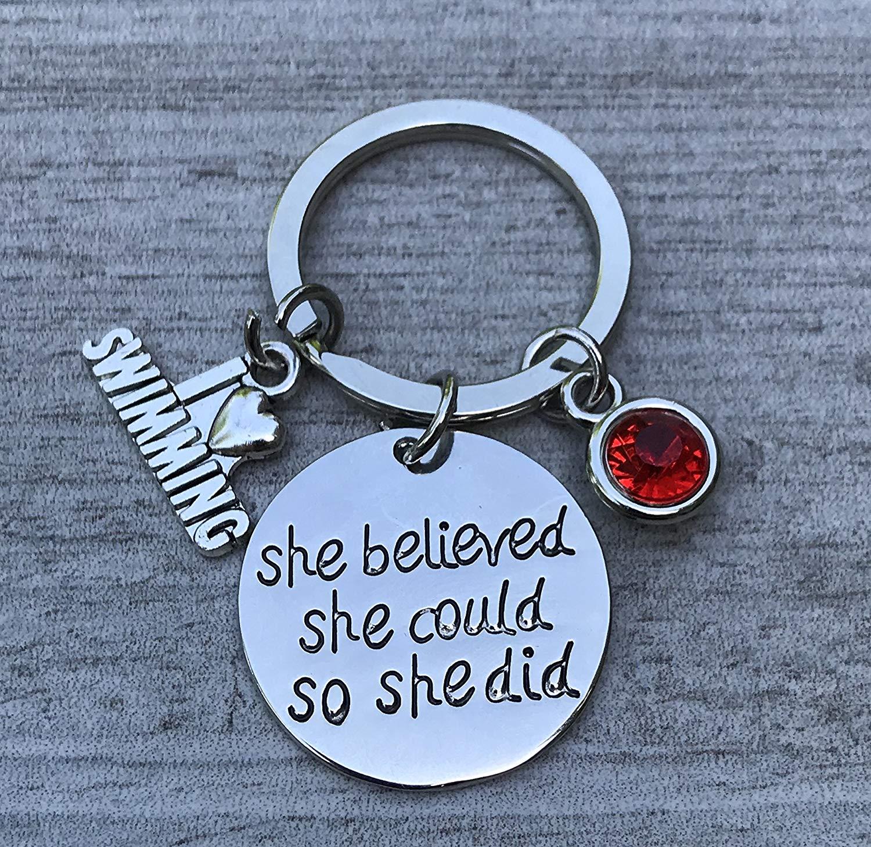 Personalized Swim Keychain with Birthstone Charms, Custom Swimmer Gift, Girls Swimming Jewelry, Perfect Gift for Swimmers, Swim Team, Swim Coaches