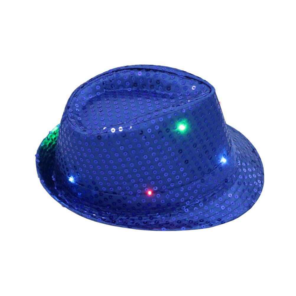 c8b6b9bf42c Get Quotations · OULII Flashing LED Fedora Hats Glitter Sequins Jazz Hats  Caps for Unisex Adult Party Dress Up