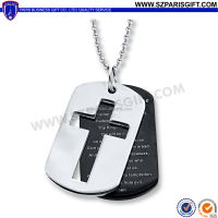 two-piece black and silver dog tags with hallow cross design