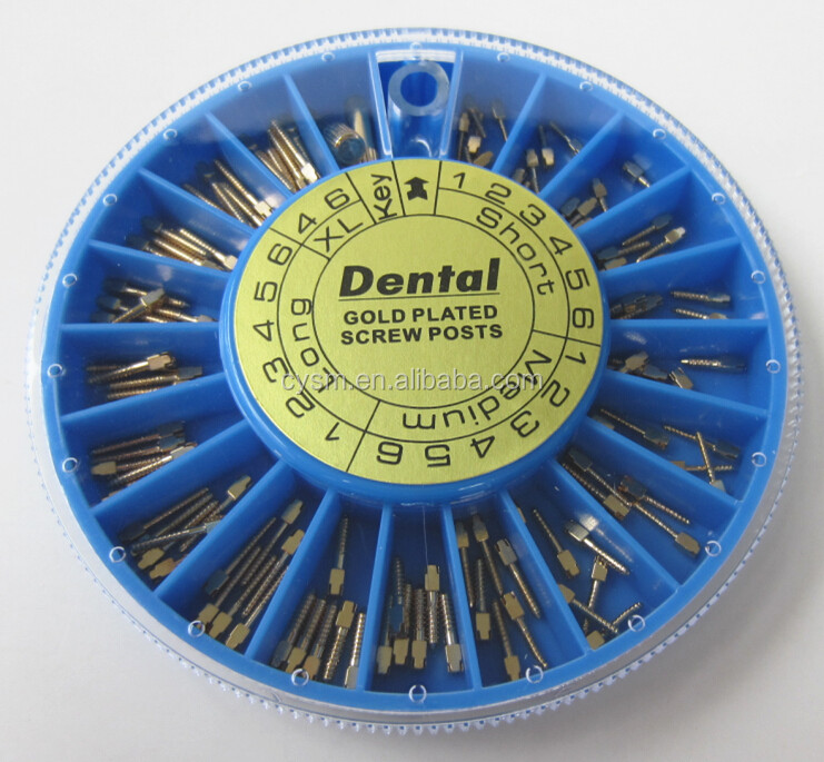 Endodontic Material Golden Plated 120pcs Dental Screw Post