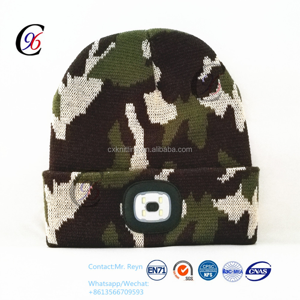 Newest led beanie with lights camo military caps knitted boonie hat military