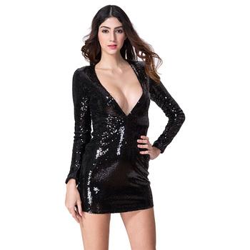 Las Chicas Calientes En El Pecho Abierto Brillante Lentejuelas Mini Vestido De Noche Sexy Mujeres Señoras Con Cuello En V De Corte Bajo Apretado