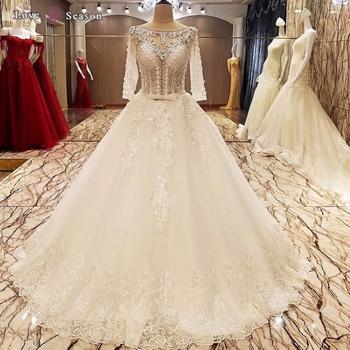 LS89644 Craft Sparkly Latest Modern Arabic Wedding Dresses With Sleeves Photo Album