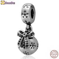 Dooda Jewelry 925 Sterling Silver Christmas Ornament Dangle Charm Beads with CZ Stone New Design for Chain Necklace and Bracelet