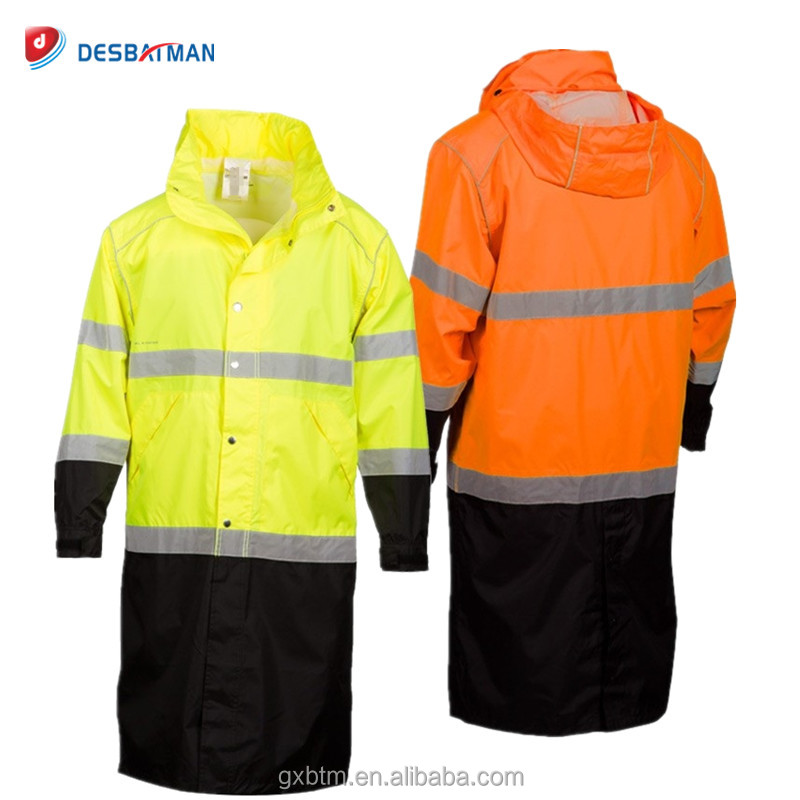 ANSI Class 3 High Visibility Workwear Rain Jacket Parka,Hi Vis 100% Waterproof Raincoat Hooded