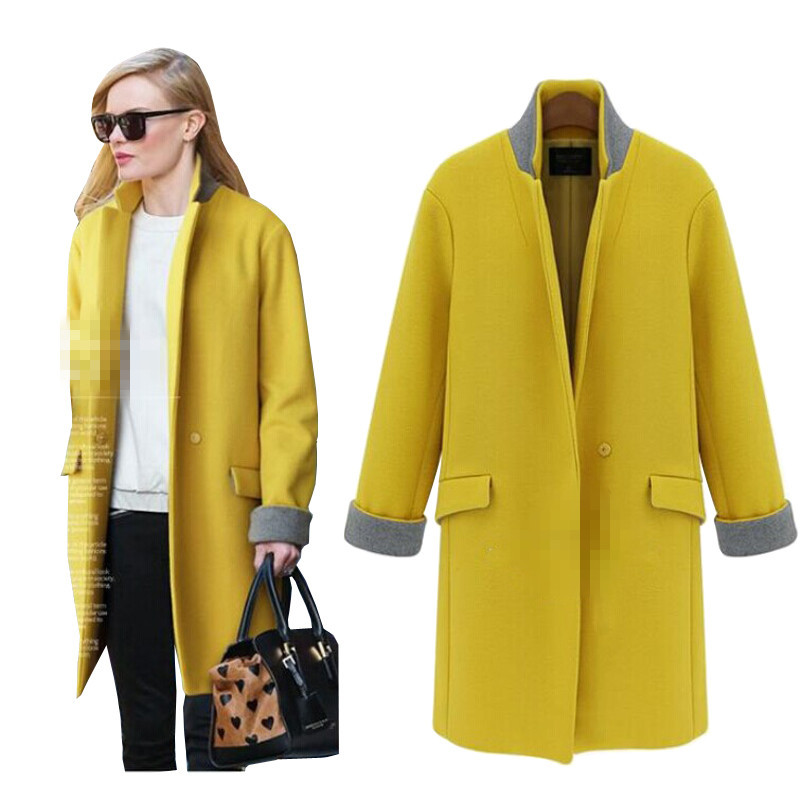 ea222d61d613a Get Quotations · 2015 New Winter Coat Women Long Woolen Trench Coat Female  Overcoat European Hit Color Jackets for