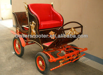 Red disk brake and hand brake steel pony carriage /coche de caballos/carrozza for export