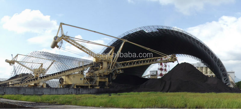 Light weight steel space frame dome storage building for coal yard