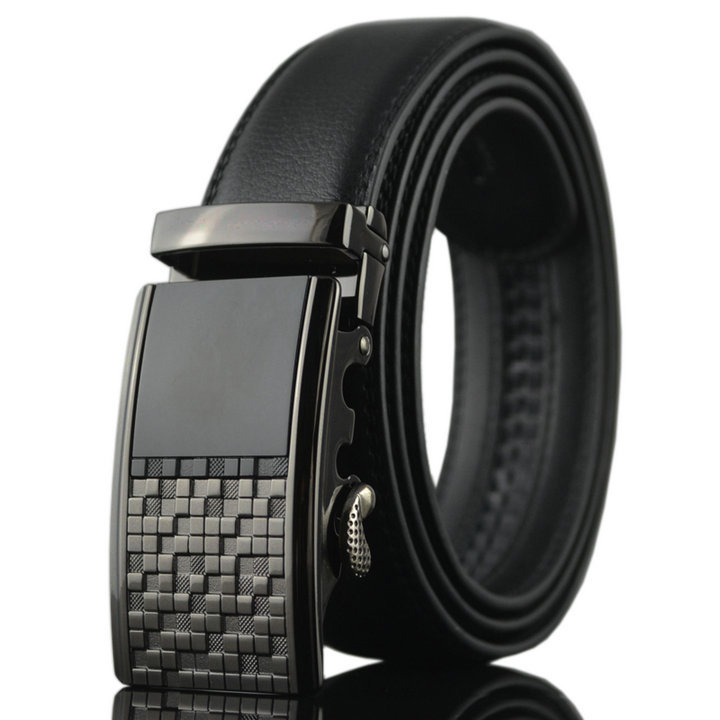 2017 New Fashion Business Men <strong>Belts</strong> Head Layer Cowhide Automatic Buckle <strong>Belts</strong> for Men Color Black Litchi Grain