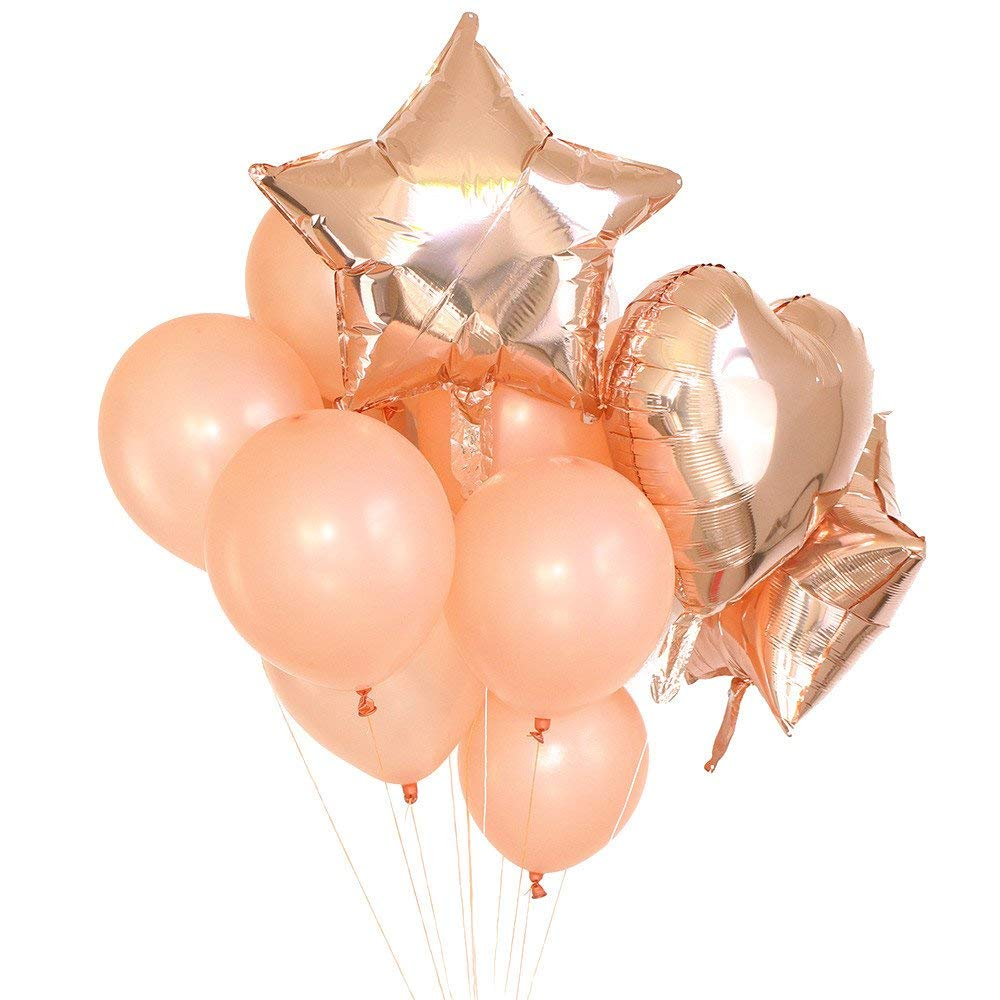 c60230f0ae08 Fenleo 14 Pcs Rose Gold Foil Balloon   Latex Ballon Set for Weddings
