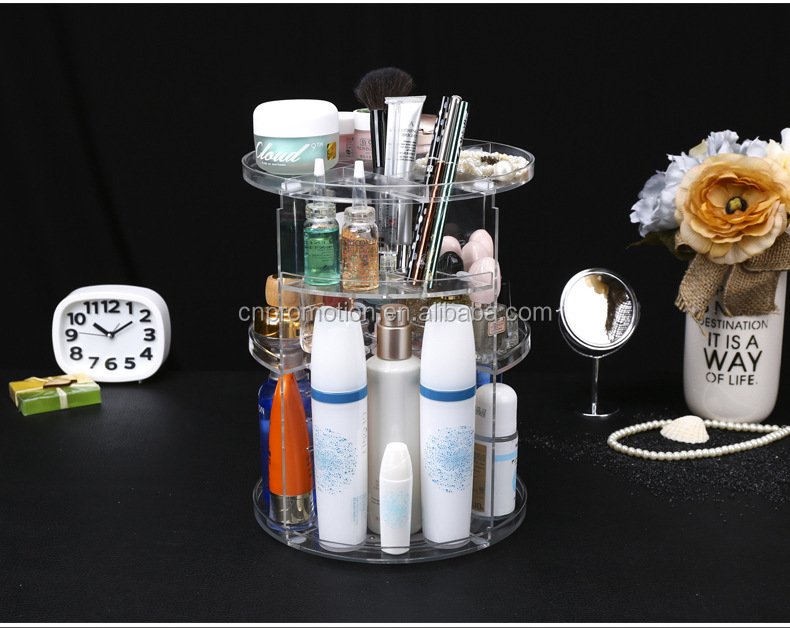 Transparent plastic 3 layer rotate 360 Makeup Organizer Acrylic makeup plastic box