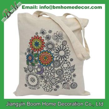 Diy Bunga Lukisan Mewarnai Cotton Tote Bag Buy Mewarnai Katun Tote