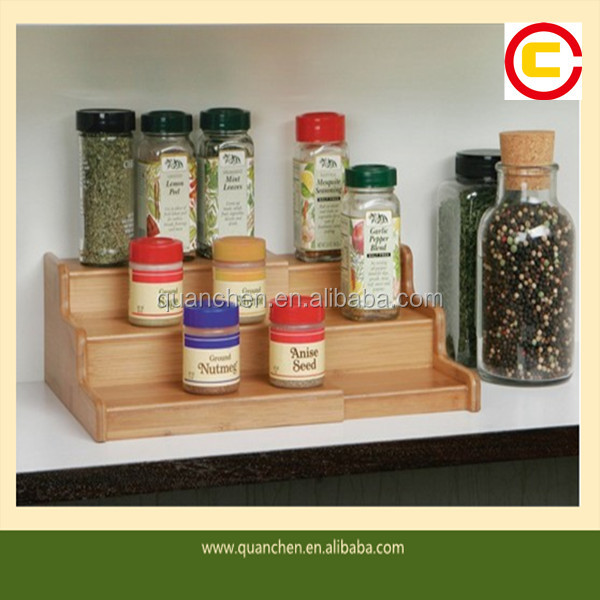 Expandable 3-Tier Bamboo Kitchen Spice Rack Organizer